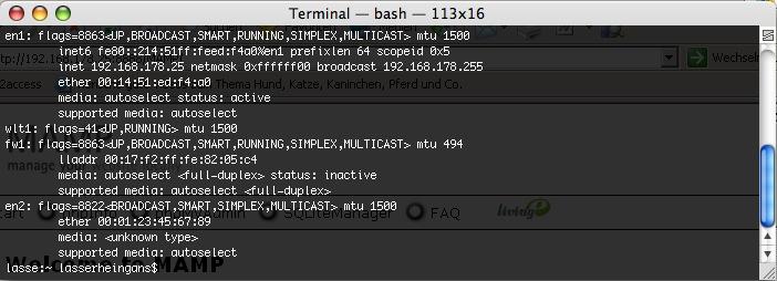 Rausfinden der IP Adresse auf dem Mac