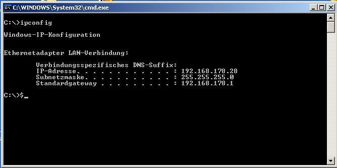 Mit der Kommandozeile unter Windows die IP rausfinden