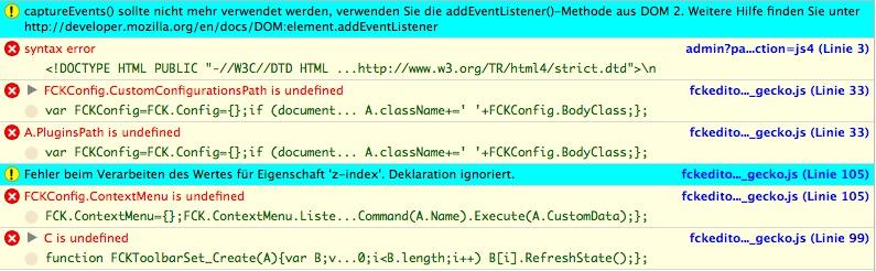 PHPList FCKEditor Fehler