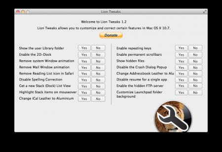 GUI zum Anpassen von Mac OS X Lion Tweaks
